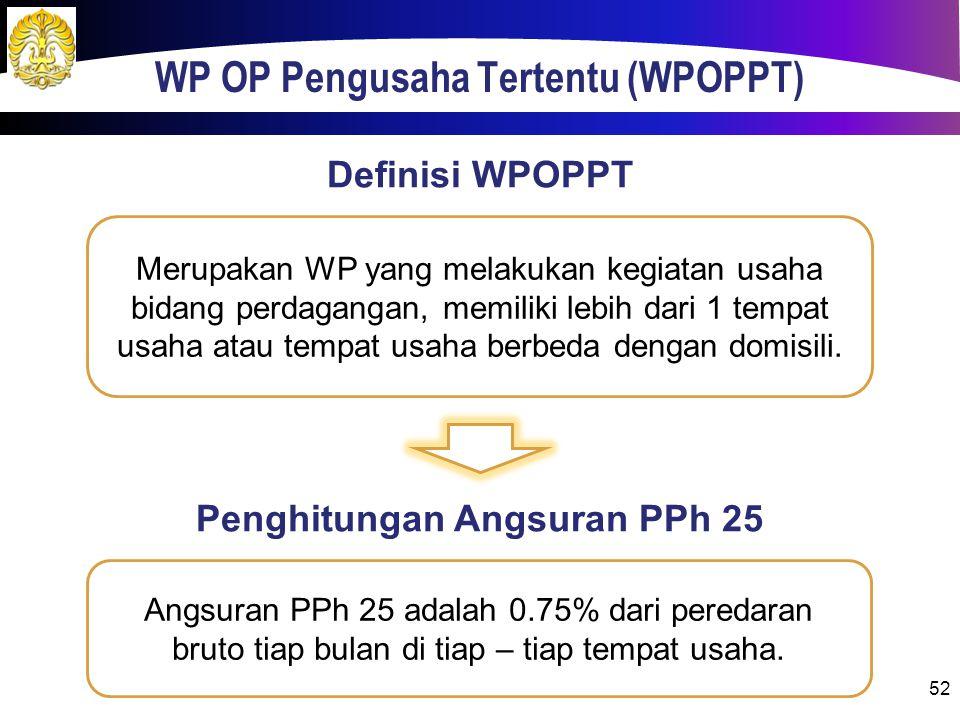 WP OP Pengusaha Tertentu (WPOPPT) 52 Merupakan WP yang melakukan kegiatan usaha bidang perdagangan, memiliki lebih dari 1 tempat usaha atau tempat usaha berbeda dengan domisili.