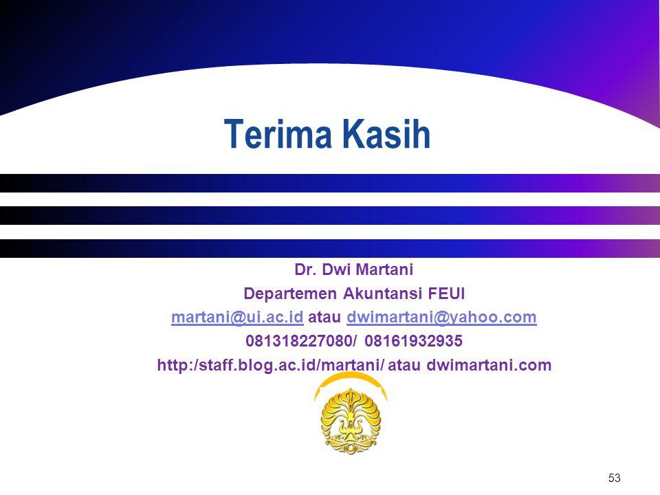 53 Dr. Dwi Martani Departemen Akuntansi FEUI martani@ui.ac.idmartani@ui.ac.id atau dwimartani@yahoo.comdwimartani@yahoo.com 081318227080/ 08161932935