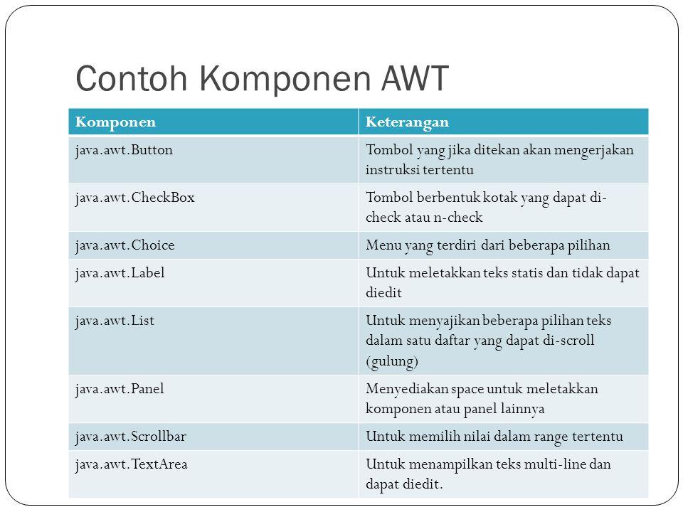 Contoh Komponen AWT KomponenKeterangan java.awt.ButtonTombol yang jika ditekan akan mengerjakan instruksi tertentu java.awt.CheckBoxTombol berbentuk k