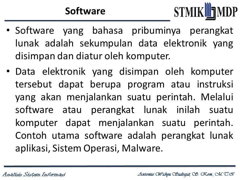 Analisis Sistem Informasi Antonius Wahyu Sudrajat, S. Kom., M.T.I Software Software yang bahasa pribuminya perangkat lunak adalah sekumpulan data elek