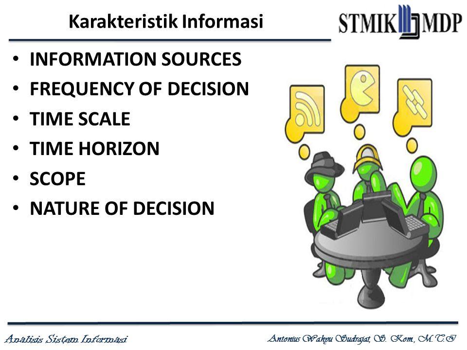 Analisis Sistem Informasi Antonius Wahyu Sudrajat, S. Kom., M.T.I Karakteristik Informasi INFORMATION SOURCES FREQUENCY OF DECISION TIME SCALE TIME HO