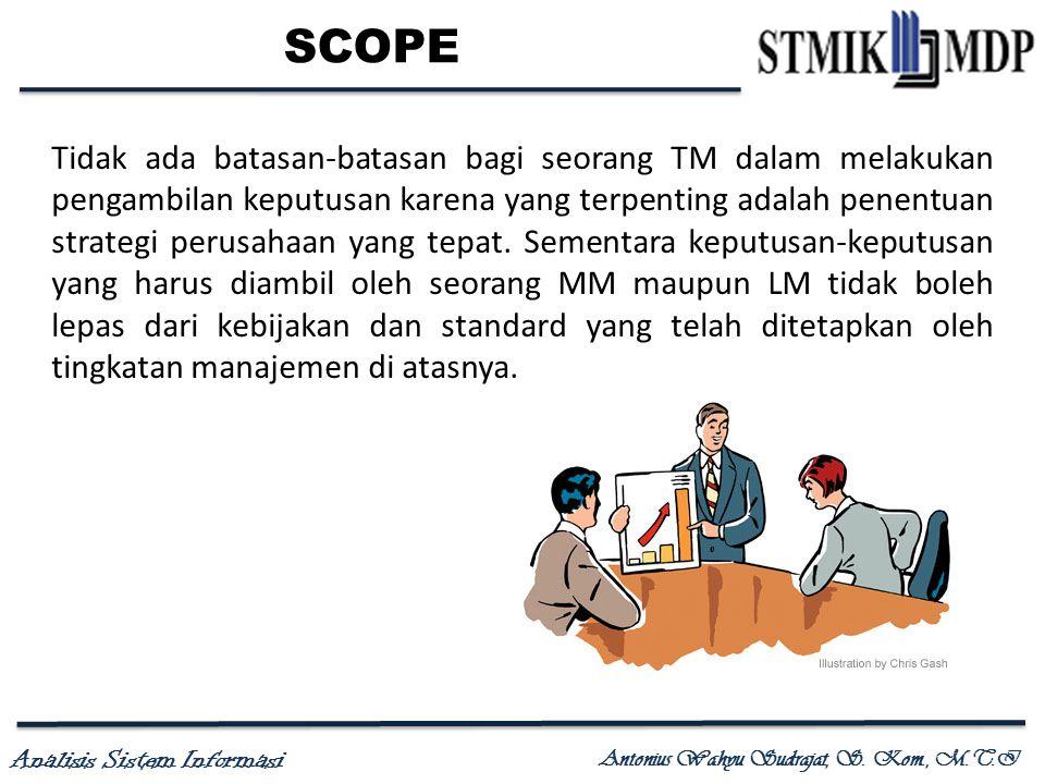 Analisis Sistem Informasi Antonius Wahyu Sudrajat, S. Kom., M.T.I SCOPE Tidak ada batasan-batasan bagi seorang TM dalam melakukan pengambilan keputusa