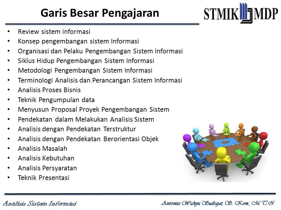 Analisis Sistem Informasi Antonius Wahyu Sudrajat, S. Kom., M.T.I Garis Besar Pengajaran Review sistem informasi Konsep pengembangan sistem Informasi