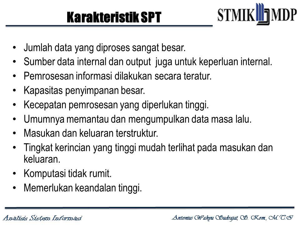 Analisis Sistem Informasi Antonius Wahyu Sudrajat, S. Kom., M.T.I Karakteristik SPT Jumlah data yang diproses sangat besar. Sumber data internal dan o