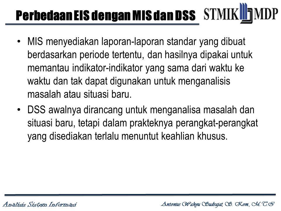Analisis Sistem Informasi Antonius Wahyu Sudrajat, S. Kom., M.T.I Perbedaan EIS dengan MIS dan DSS MIS menyediakan laporan-laporan standar yang dibuat