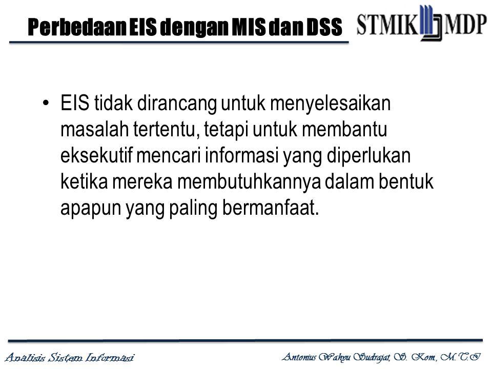 Analisis Sistem Informasi Antonius Wahyu Sudrajat, S. Kom., M.T.I EIS tidak dirancang untuk menyelesaikan masalah tertentu, tetapi untuk membantu ekse