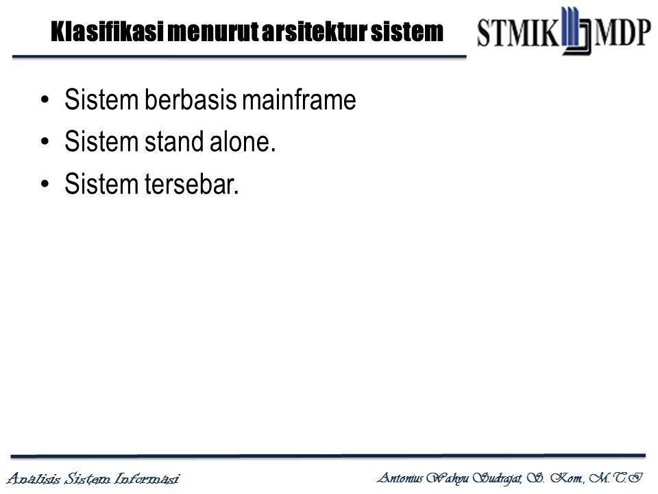 Analisis Sistem Informasi Antonius Wahyu Sudrajat, S. Kom., M.T.I Klasifikasi menurut arsitektur sistem Sistem berbasis mainframe Sistem stand alone.