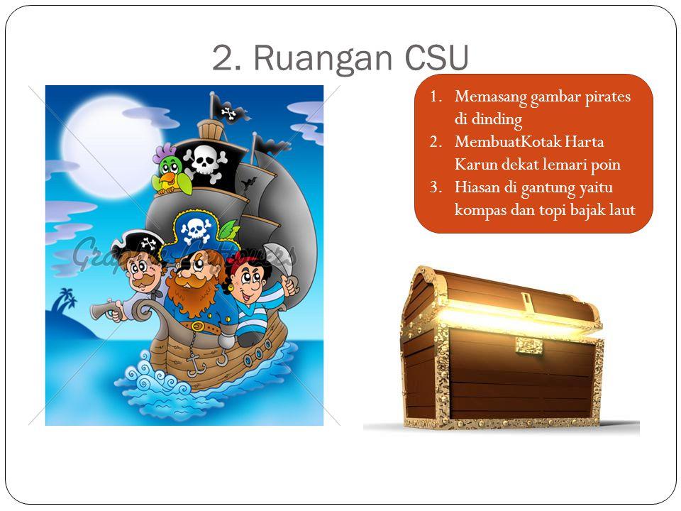 2. Ruangan CSU 1.Memasang gambar pirates di dinding 2.MembuatKotak Harta Karun dekat lemari poin 3.Hiasan di gantung yaitu kompas dan topi bajak laut
