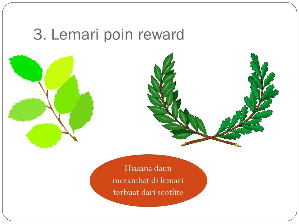 3. Lemari poin reward Hiasana daun merambat di lemari terbuat dari scotlite