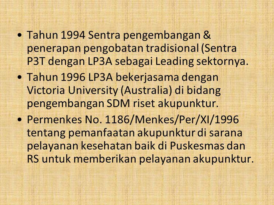 Tahun 1999 DR.Kosnadi Saputra,dr.,Sp.R menjadi Doktor akupunktur pertama di Indonesia dengan judul disertasi PROFIL TRANSDUKSI RANGSANG TITIK AKUPUNKTUR PADA KELINCI.