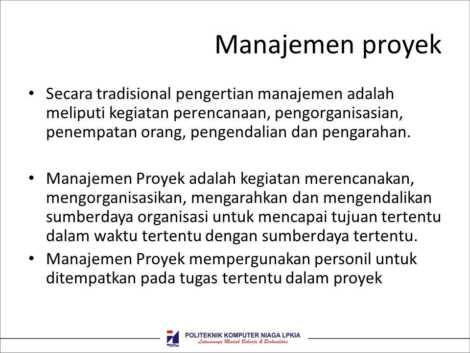 Manajemen proyek Secara tradisional pengertian manajemen adalah meliputi kegiatan perencanaan, pengorganisasian, penempatan orang, pengendalian dan pe
