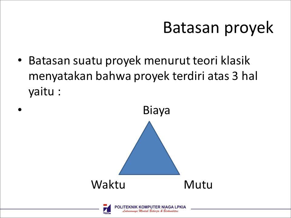 Batasan proyek Batasan suatu proyek menurut teori klasik menyatakan bahwa proyek terdiri atas 3 hal yaitu : Biaya Waktu Mutu