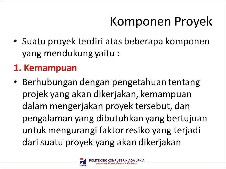 Komponen Proyek Suatu proyek terdiri atas beberapa komponen yang mendukung yaitu : 1. Kemampuan Berhubungan dengan pengetahuan tentang projek yang aka