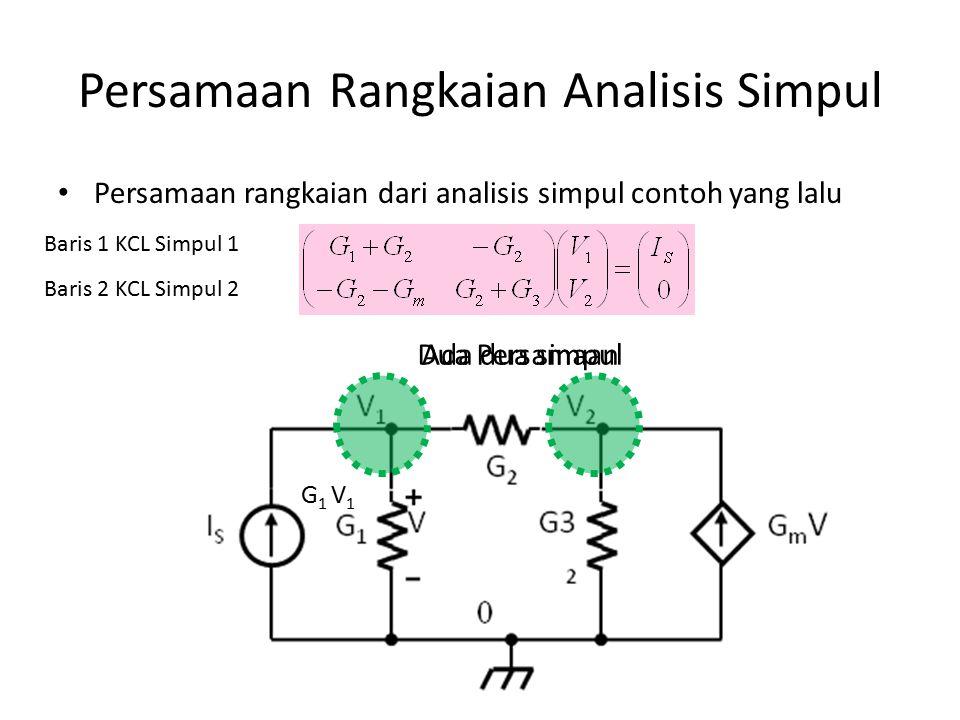 Persamaan Rangkaian Analisis Simpul Persamaan rangkaian dari analisis simpul contoh yang lalu G 1 V 1 Ada dua simpulDua Persamaan Baris 1 KCL Simpul 1 Baris 2 KCL Simpul 2