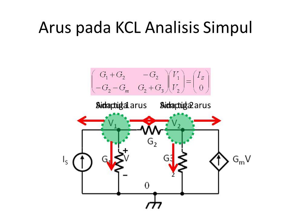 Arus pada KCL Analisis Simpul Simpul 1Ada tiga arusSimpul 2Ada tiga arus