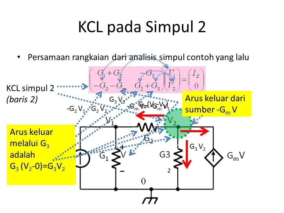 G 3 terhubung pada simpul 2 (dan 0) Entri elemen-elemen dalam matriks Pengamatan Letak Entri Elemen G 1 terhubung pada simpul 1 (dan 0) hanya muncul pada KCL simpul 1 (pada baris 1) kolom 1 (tegangan V 1 ) G 2 terhubung pada simpul 1 dan simpul 2 muncul pada KCL simpul 1 kolom 1 positif (V 1 ) dan kolom 2 (V 2 ) negatif muncul pada KCL simpul 2 kolom 2 positif (V 2 ) dan kolom 1 (V 1 ) negatif hanya muncul pada KCL simpul 2 (pada baris 2) kolom 2 (tegangan V 2 ) Sumber arus bebas I S terhubung simpul 1 hanya muncul pada KCL simpul 1 Sumber dependen G m Vterhubu ng simpul 2 (dan 0) dengan tegangan penentu pada simpul 1(dan 0) hanya muncul pada KCL simpul 2