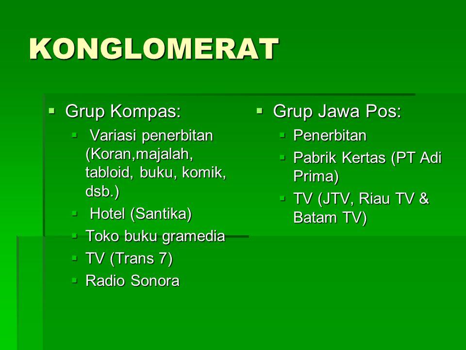 KELOMPOK PENERBITAN NAMA GRUP JUMLAH PENERBITAN Kelompok Kompas Gramedia (KKG) 81 Jawa Pos 122 (180-an?) Pinpoint12 Femina11 MRA8 Pikiran Rakyat 8 Bisnis Indonesia 7