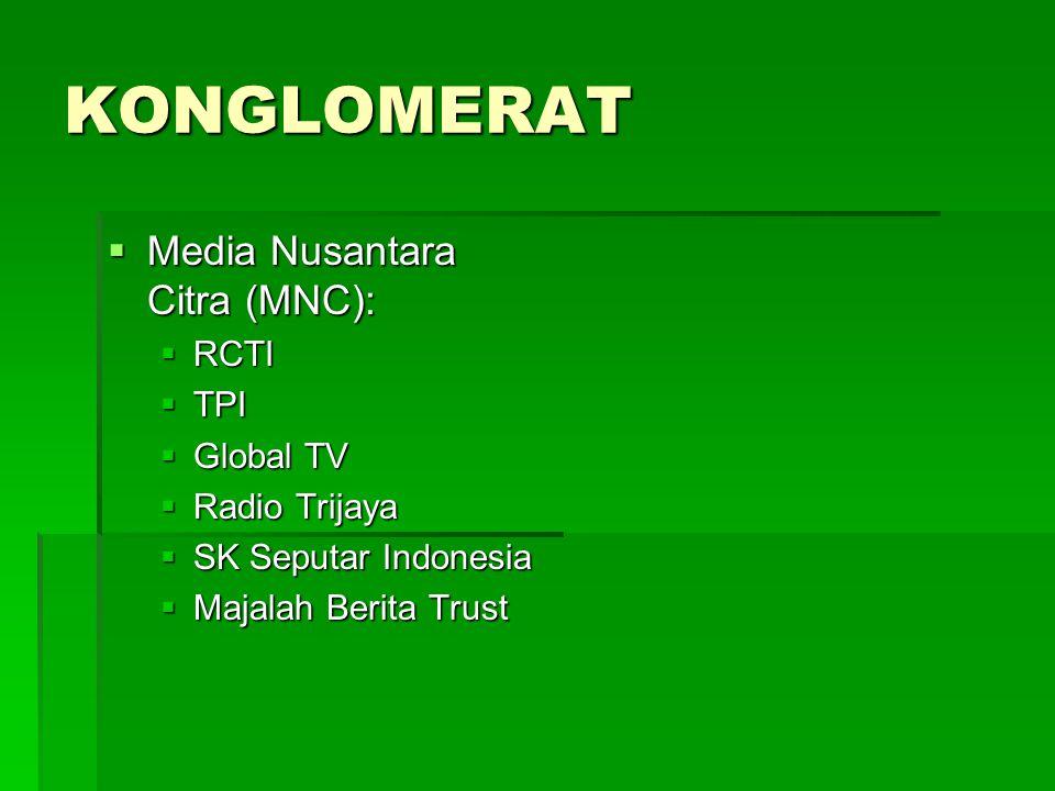 KONGLOMERAT  Grup Kompas:  Variasi penerbitan (Koran,majalah, tabloid, buku, komik, dsb.)  Hotel (Santika)  Toko buku gramedia  TV (Trans 7)  Radio Sonora  Grup Jawa Pos:  Penerbitan  Pabrik Kertas (PT Adi Prima)  TV (JTV, Riau TV & Batam TV)