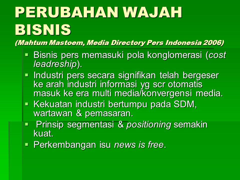 PROFIL USAHAWAN MEDIA (Mahtum Mastoem, Media Directory Pers Indonesia 2006)  Visi bisnis lemah, tdk paham institusi media  Pemain baru hanya mengand