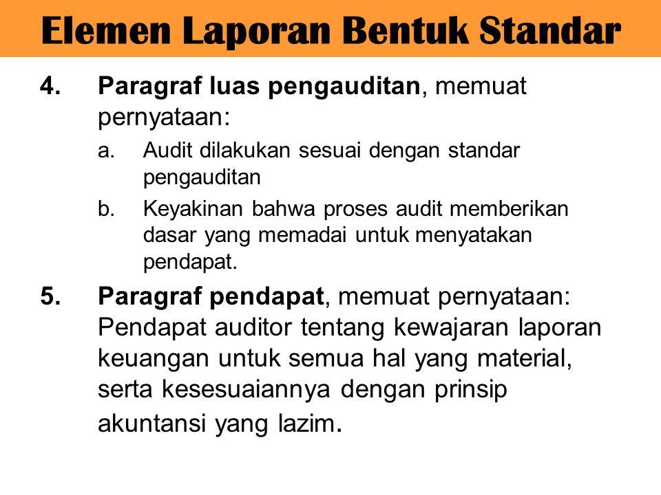 Elemen Laporan Bentuk Standar 4.Paragraf luas pengauditan, memuat pernyataan: a.Audit dilakukan sesuai dengan standar pengauditan b.Keyakinan bahwa pr