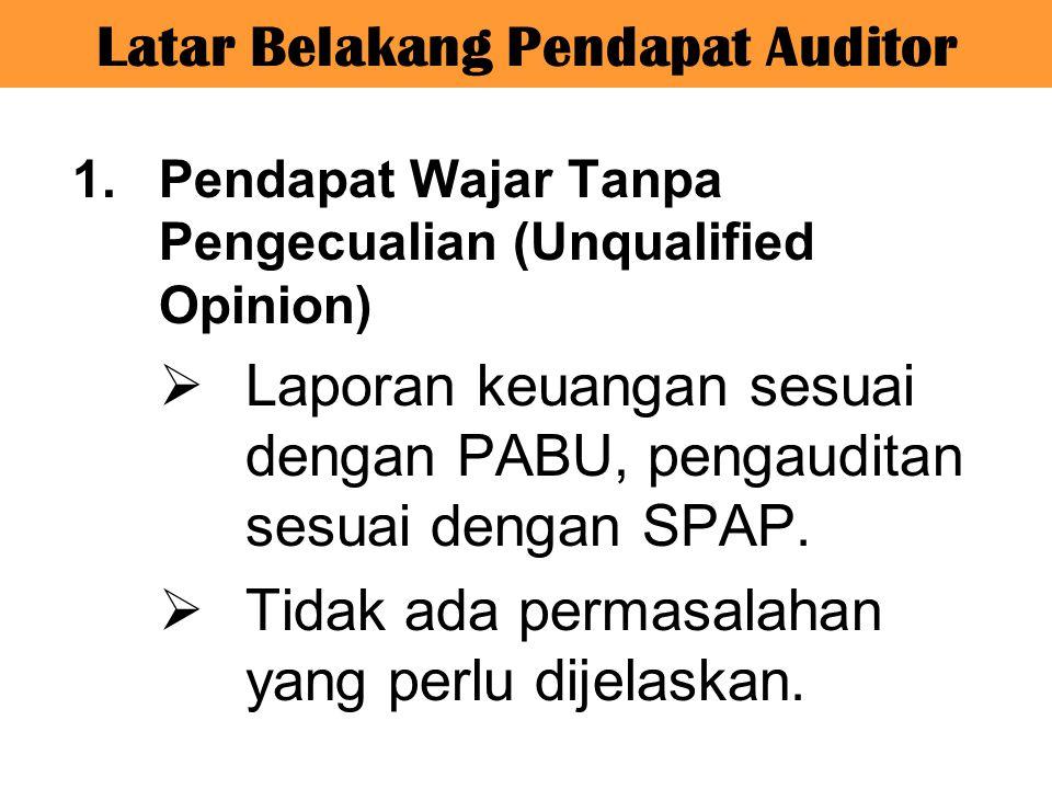 Latar Belakang Pendapat Auditor 1.Pendapat Wajar Tanpa Pengecualian (Unqualified Opinion)  Laporan keuangan sesuai dengan PABU, pengauditan sesuai de