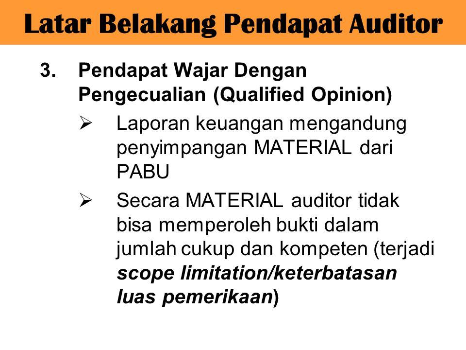 3.Pendapat Wajar Dengan Pengecualian (Qualified Opinion)  Laporan keuangan mengandung penyimpangan MATERIAL dari PABU  Secara MATERIAL auditor tidak