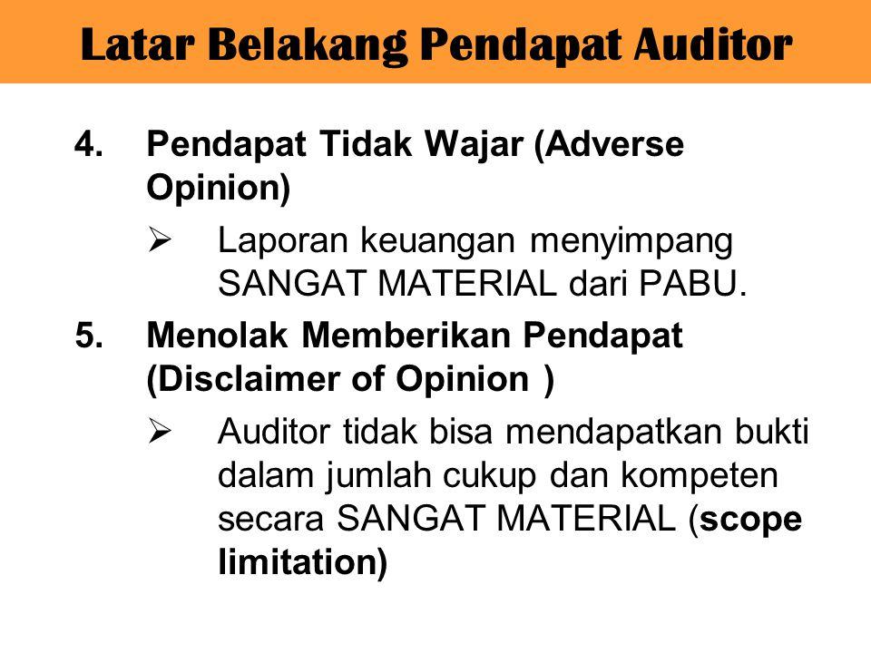 4.Pendapat Tidak Wajar (Adverse Opinion)  Laporan keuangan menyimpang SANGAT MATERIAL dari PABU. 5.Menolak Memberikan Pendapat (Disclaimer of Opinion