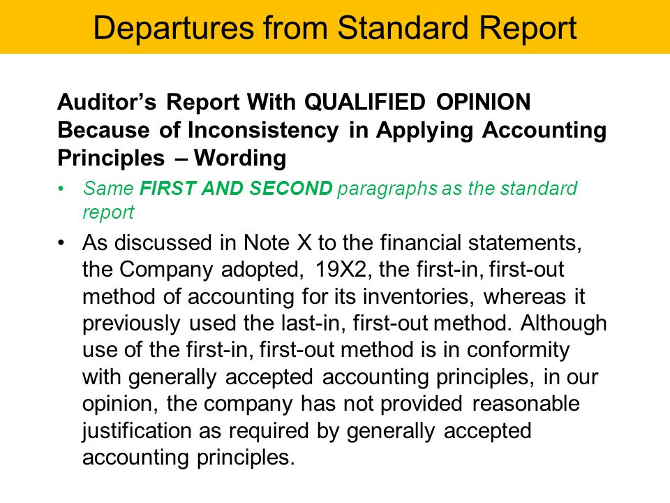 Auditor's Report With QUALIFIED OPINION Because of Inconsistency in Applying Accounting Principles – Wording Same FIRST AND SECOND paragraphs as the s
