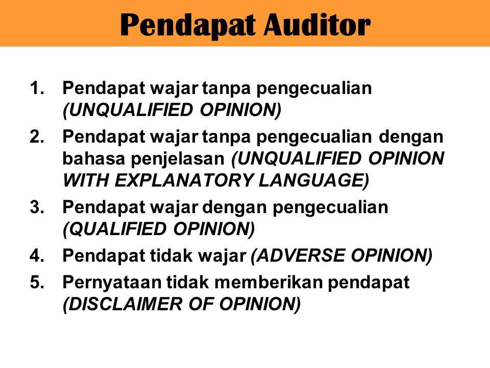 Pendapat Auditor 1.Pendapat wajar tanpa pengecualian (UNQUALIFIED OPINION) 2.Pendapat wajar tanpa pengecualian dengan bahasa penjelasan (UNQUALIFIED O