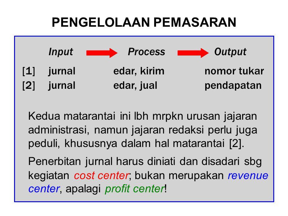PENGELOLAAN KEUANGAN Mengingat penerbitan jurnal mrpkn cost center, tindakan sekaligus tujuan pengelola dalam urusan keuangan adalah pengendalian biaya (minimizing cost).