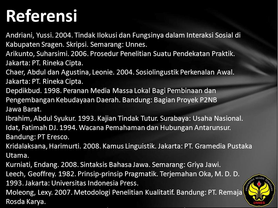 Referensi Andriani, Yussi. 2004. Tindak Ilokusi dan Fungsinya dalam Interaksi Sosial di Kabupaten Sragen. Skripsi. Semarang: Unnes. Arikunto, Suharsim