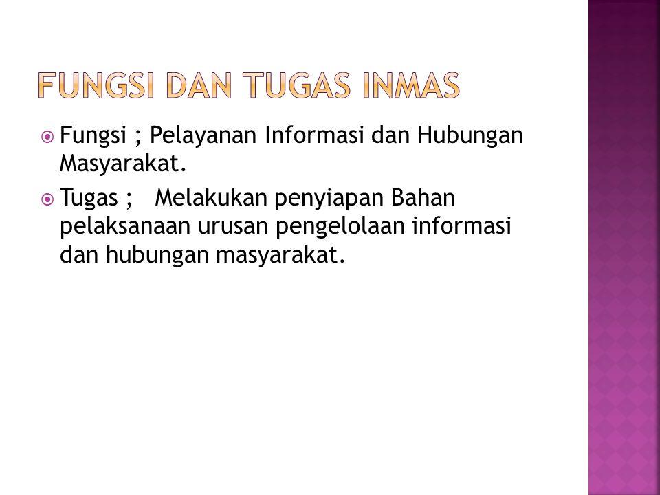  Fungsi ; Pelayanan Informasi dan Hubungan Masyarakat.  Tugas ; Melakukan penyiapan Bahan pelaksanaan urusan pengelolaan informasi dan hubungan masy