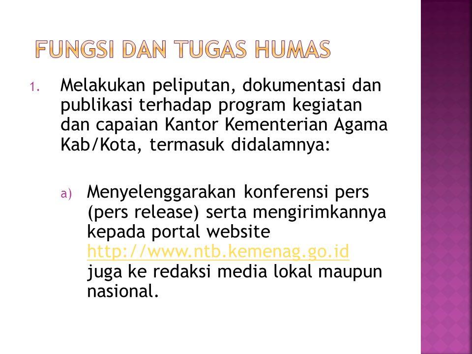 1. Melakukan peliputan, dokumentasi dan publikasi terhadap program kegiatan dan capaian Kantor Kementerian Agama Kab/Kota, termasuk didalamnya: a) Men