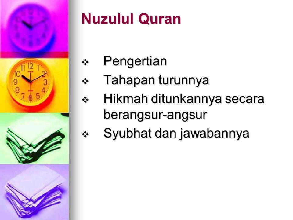 Pemeliharaan al-Quran  Pemeliharaan dalam arti menghafal  Pemeliharaan al-Quran pada masa Nabi saw  Pemeliharaan pada masa KR  Penyempurnaan pemel