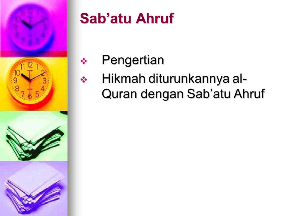 Qiraat al-Quran  Pengertian  Syarat-syarat qiraat yang muktabar  Pengaruh qiraat terhadap istinbath hukum  Syubhat dan jawabannya