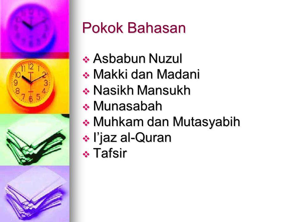 Pokok Bahasan  Pendahuluan  Nuzulul Quran  Pemeliharaan al-Quran  Rasm al-Quran  Qiraat al-Quran  Sab'atu Ahruf