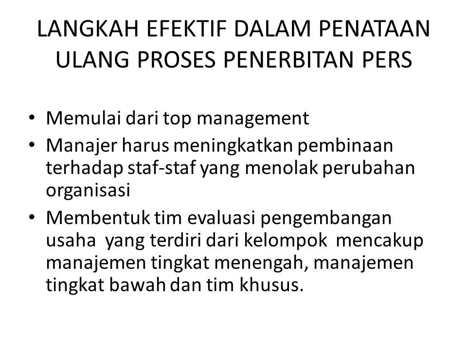 LANGKAH EFEKTIF DALAM PENATAAN ULANG PROSES PENERBITAN PERS Memulai dari top management Manajer harus meningkatkan pembinaan terhadap staf-staf yang m