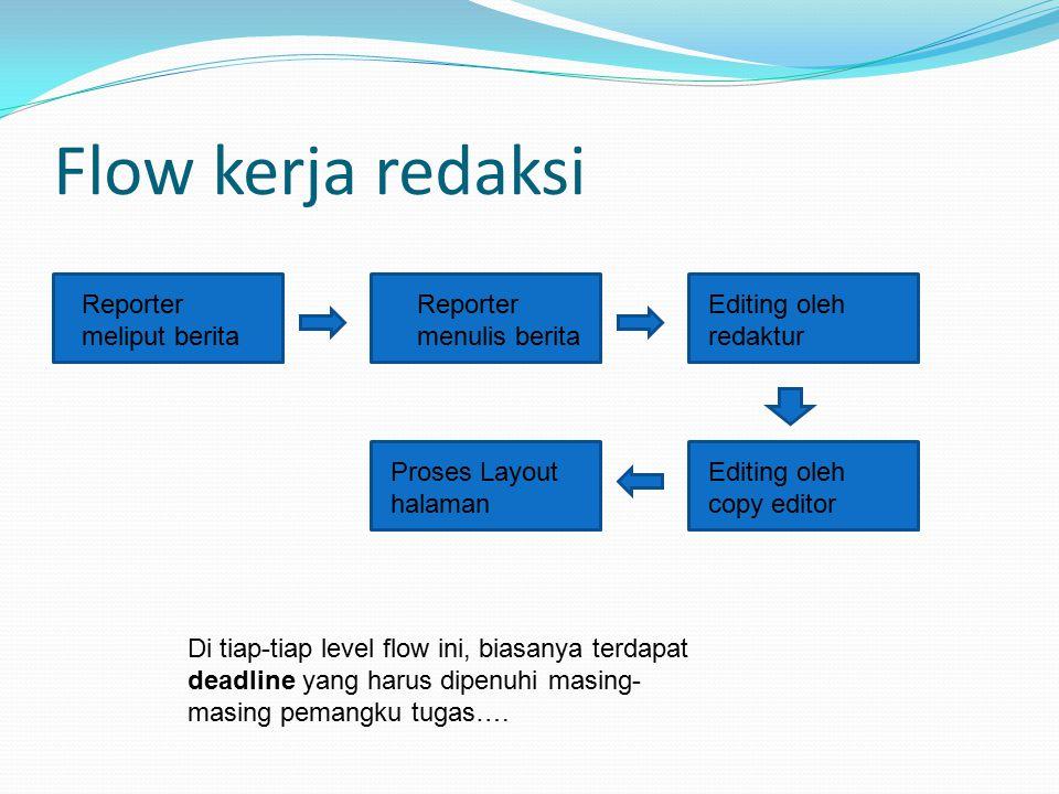 Flow kerja redaksi Reporter meliput berita Reporter menulis berita Editing oleh redaktur Editing oleh copy editor Proses Layout halaman Di tiap-tiap l