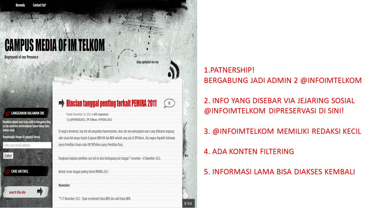 1.PATNERSHIP. BERGABUNG JADI ADMIN 2 @INFOIMTELKOM 2.