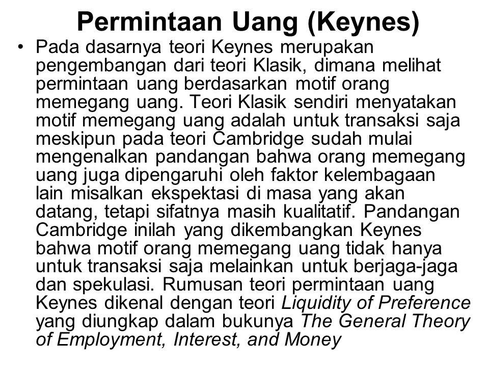 Permintaan Uang (Keynes) Pada dasarnya teori Keynes merupakan pengembangan dari teori Klasik, dimana melihat permintaan uang berdasarkan motif orang m