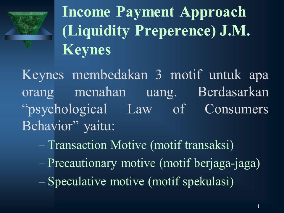 """1 Income Payment Approach (Liquidity Preperence) J.M. Keynes Keynes membedakan 3 motif untuk apa orang menahan uang. Berdasarkan """"psychological Law of"""