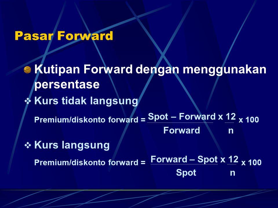 Pasar Forward Kutipan Forward dengan menggunakan persentase  Kurs tidak langsung Premium/diskonto forward = Spot – Forward x 12 x 100 Forward n  Kur