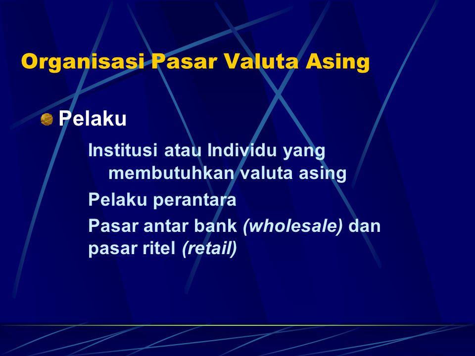Organisasi Pasar Valuta Asing Pelaku Institusi atau Individu yang membutuhkan valuta asing Pelaku perantara Pasar antar bank (wholesale) dan pasar rit