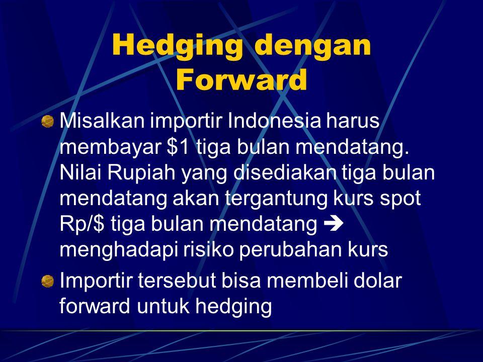 Hedging dengan Forward Misalkan importir Indonesia harus membayar $1 tiga bulan mendatang. Nilai Rupiah yang disediakan tiga bulan mendatang akan terg