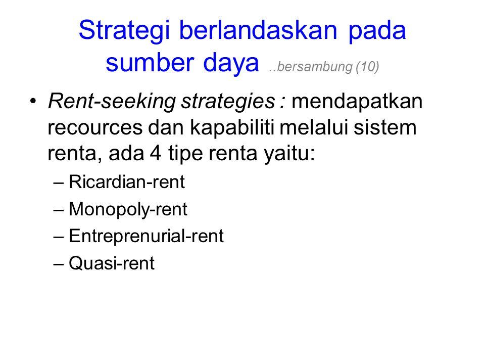 Strategi berlandaskan pada sumber daya..bersambung (10) Rent-seeking strategies : mendapatkan recources dan kapabiliti melalui sistem renta, ada 4 tipe renta yaitu: –Ricardian-rent –Monopoly-rent –Entreprenurial-rent –Quasi-rent