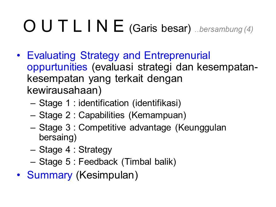 O U T L I N E (Garis besar)..bersambung (4) Evaluating Strategy and Entreprenurial oppurtunities (evaluasi strategi dan kesempatan- kesempatan yang terkait dengan kewirausahaan) –Stage 1 : identification (identifikasi) –Stage 2 : Capabilities (Kemampuan) –Stage 3 : Competitive advantage (Keunggulan bersaing) –Stage 4 : Strategy –Stage 5 : Feedback (Timbal balik) Summary (Kesimpulan)