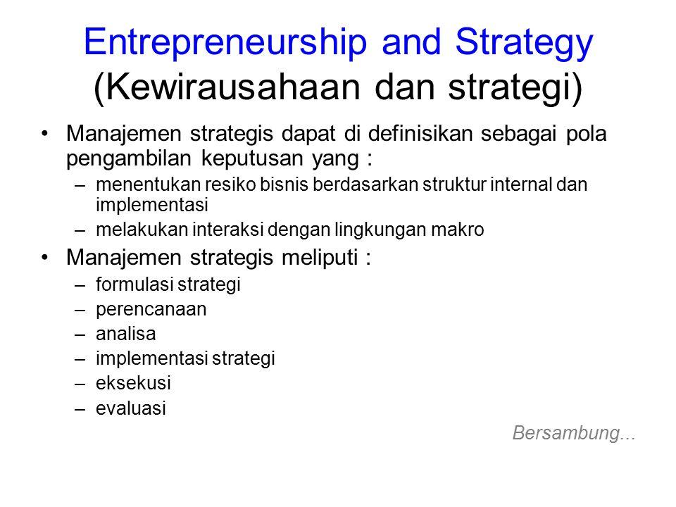 Entrepreneurship and Strategy (Kewirausahaan dan strategi)..bersambung (6) Spekulasi bisnis dapat menggunakan 5 level strategi yang berbeda –level entreprise (berkaitan dengan masyarakat) –level corporate (berkaitan dengan penggolongan dalam perusahaan) –level bisnis (berkaitan dengan pesaing) –level functional (berkaitan dengan pemasaran, keuangan / biaya, dan accounting / laporan) –level sub funtional (berkaitan dengan SDM)
