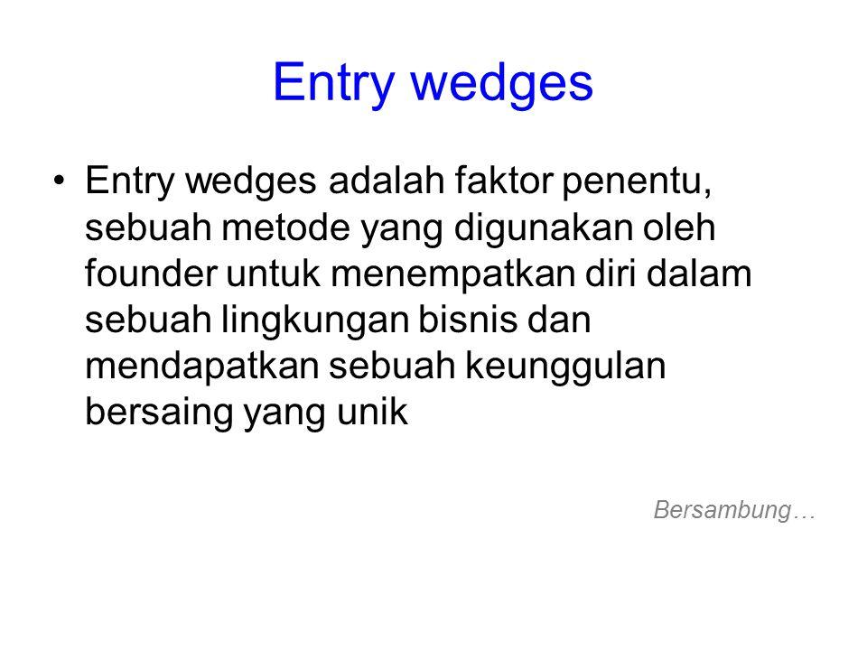 Entry wedges Entry wedges adalah faktor penentu, sebuah metode yang digunakan oleh founder untuk menempatkan diri dalam sebuah lingkungan bisnis dan mendapatkan sebuah keunggulan bersaing yang unik Bersambung…