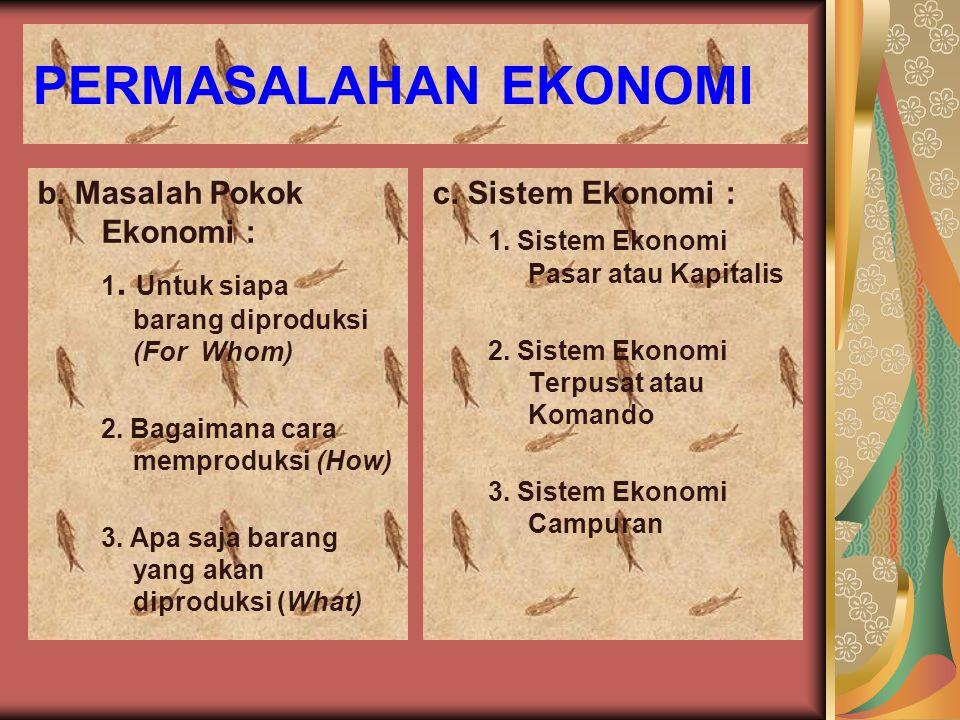 PERMASALAHAN EKONOMI b. Masalah Pokok Ekonomi : 1. Untuk siapa barang diproduksi (For Whom) 2. Bagaimana cara memproduksi (How) 3. Apa saja barang yan