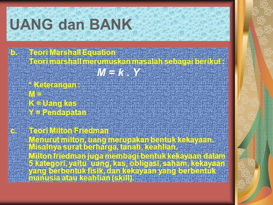 UANG dan BANK b.Teori Marshall Equation Teori marshall merumuskan masalah sebagai berikut : M = k. Y * Keterangan : M = K = Uang kas Y = Pendapatan c.
